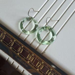 Midcentury Lucite Green Hoop Earrings